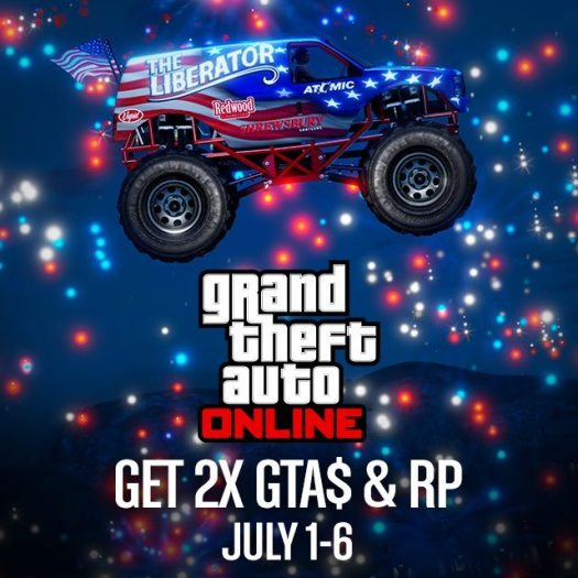 Get Double GTA$ and RP in GTA Online Now through July 4th Weekend