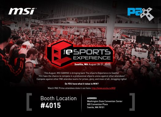 MSI Storms into PAX Prime with eSports Experience, New Gaming Solutions, and Pro Tournament Finals