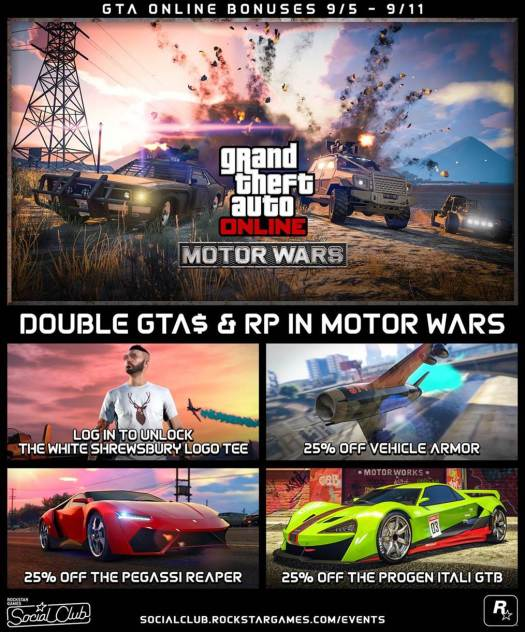 GTA Online Double GTA$ and RP in Motor Wars this Week (Sept. 5)