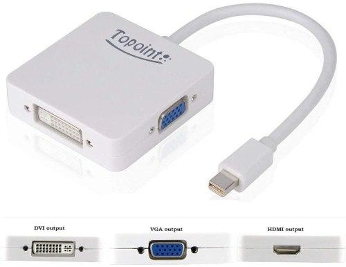 TOPOINT 3 in 1 Mini Displayport to HDMI DVI VGA Adapter