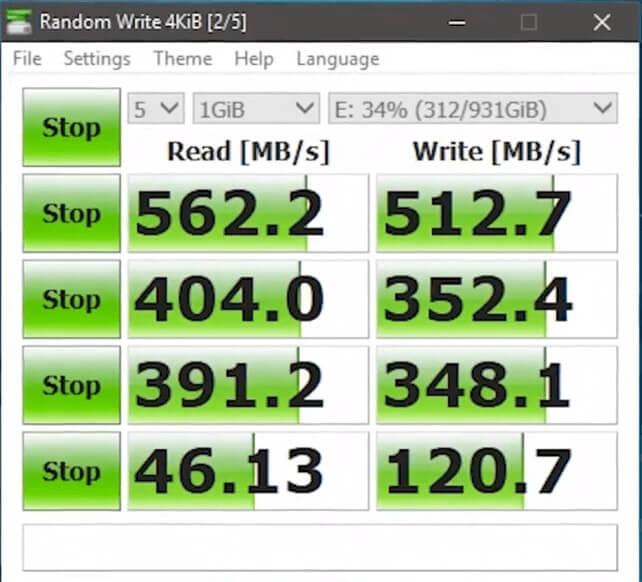 Crucial MX500 performance benchmark
