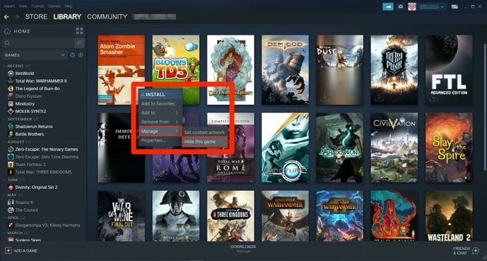How to hide games in steam