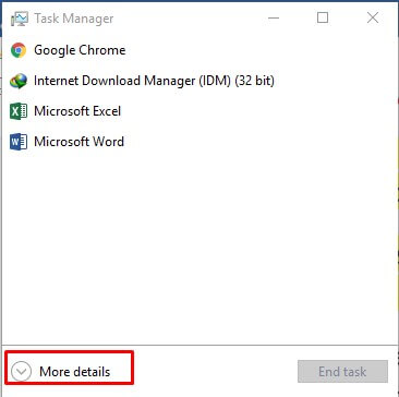 opening task manager for steam
