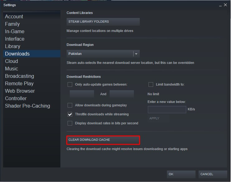steam downloading slow clear cache