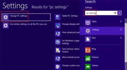 PC settings option