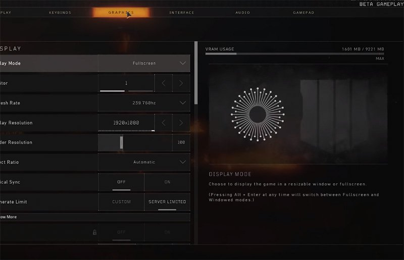 CouRage Blackout Settings