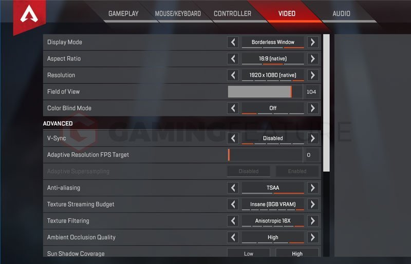 Ninja Apex Legends Settings