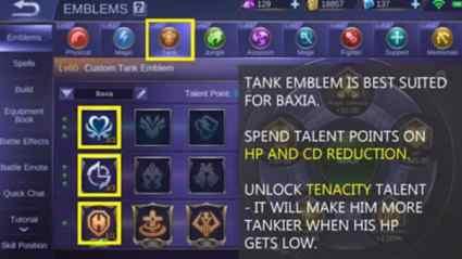 Mobile Legends Baxia Emblem Set