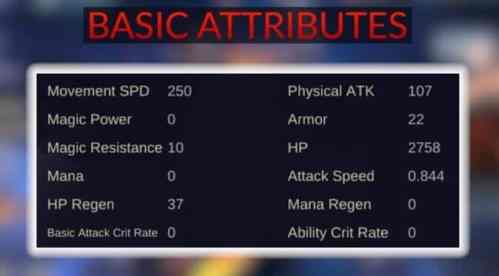 What is Mobile Legends Thamuz Basic attributes