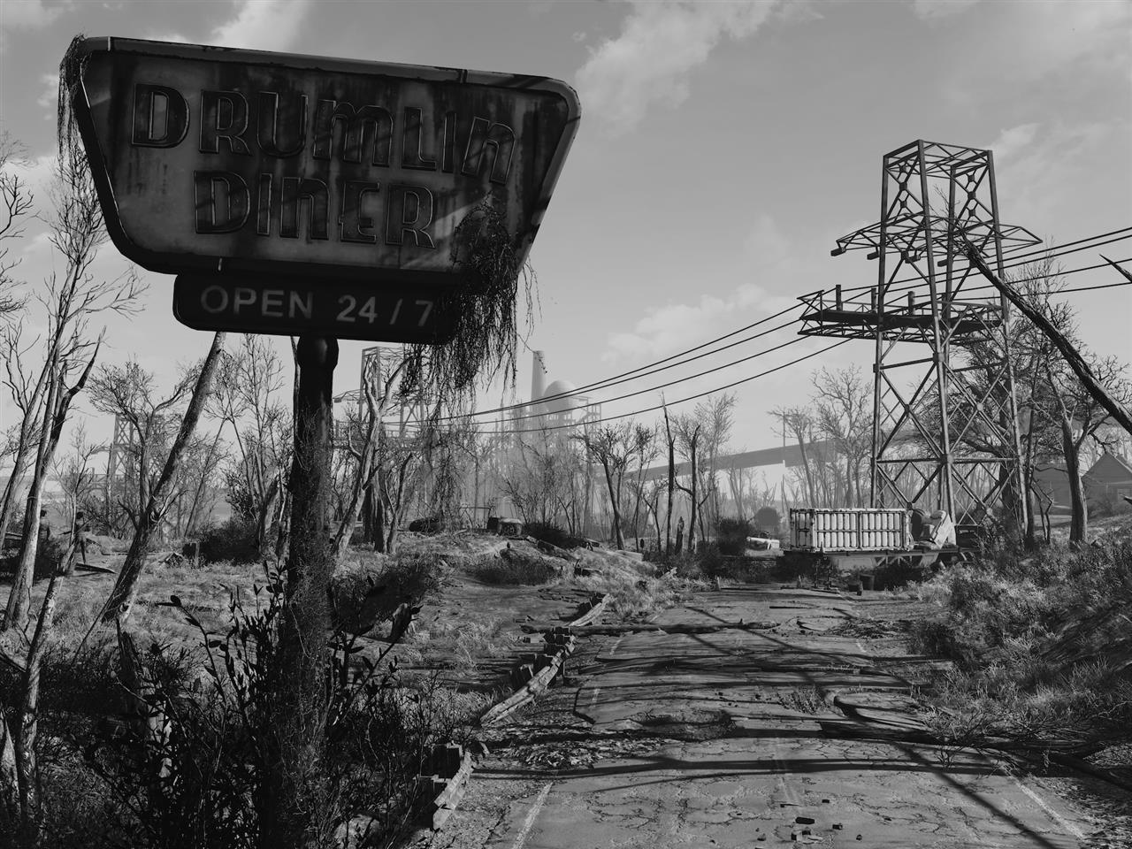 Sharp black  white photos of Fallout 4s wasteland
