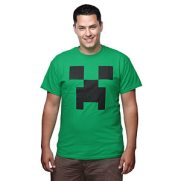 mans green t-shirt withm minecraft creeper face on front