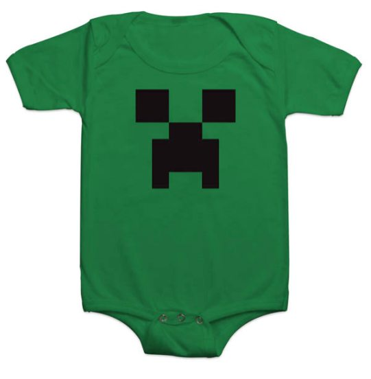 green baby grow with minecraft creeper face