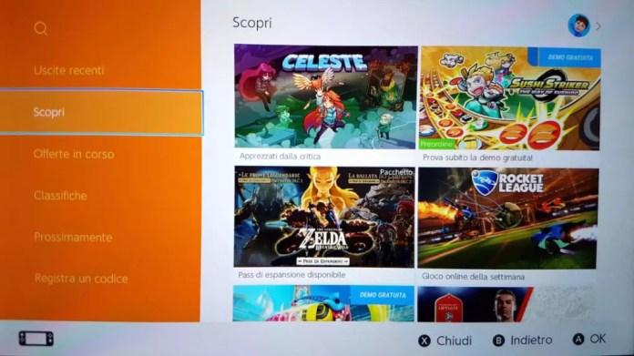 eShop Nintendo Switch sezione scopri