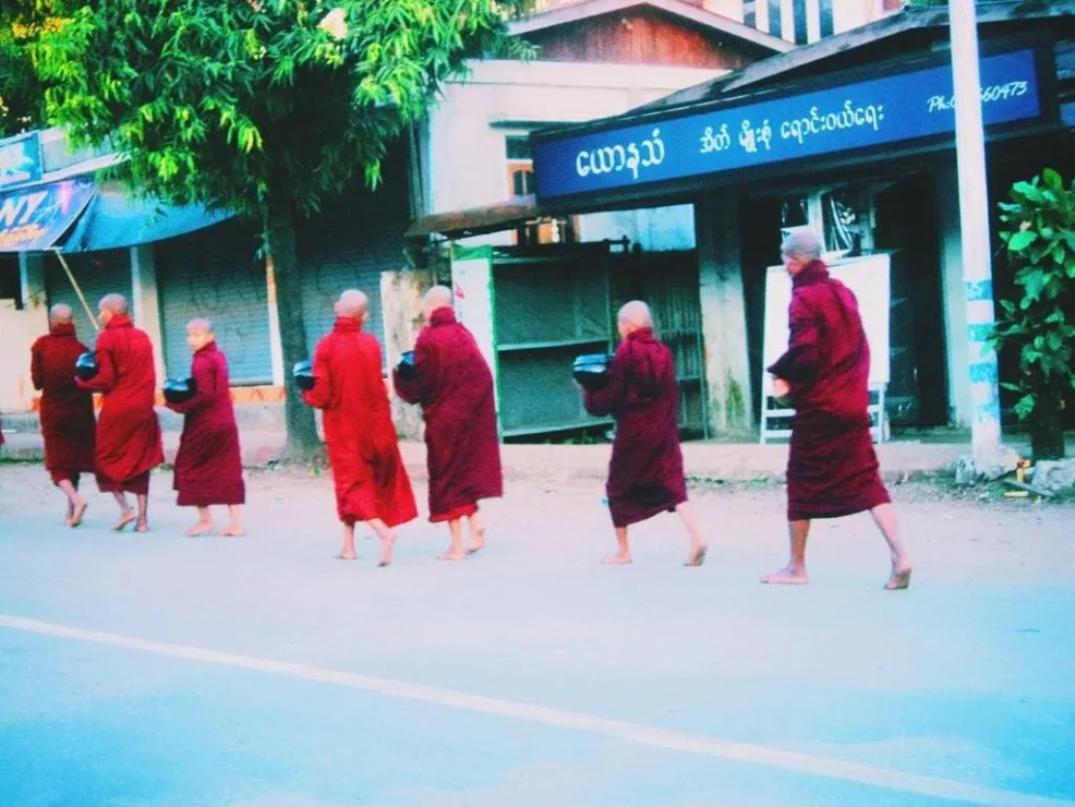 Bagan, Instagrammable places in Myanmar, alms giving to the monks