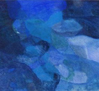 blau, 2016, Roggentempera auf Tafel, 30×40 cm