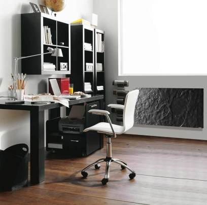 Radiador para el frío CLIMASTAR en color negro en un despacho.