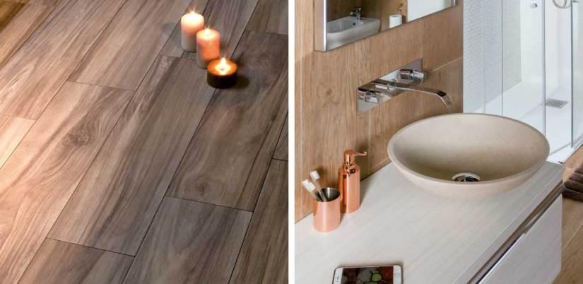 Tendencias cuarto de baño donde aparece una cerámica que imita la madera y un lavabo de mármol.