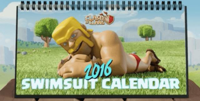 [New] Clash of Clans 2016 desk Calendar Swim Suit