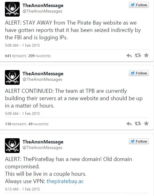 I tre tweet di TheAnonMessage