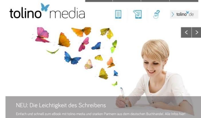 Uno screenshot della homepage di Tolino Media