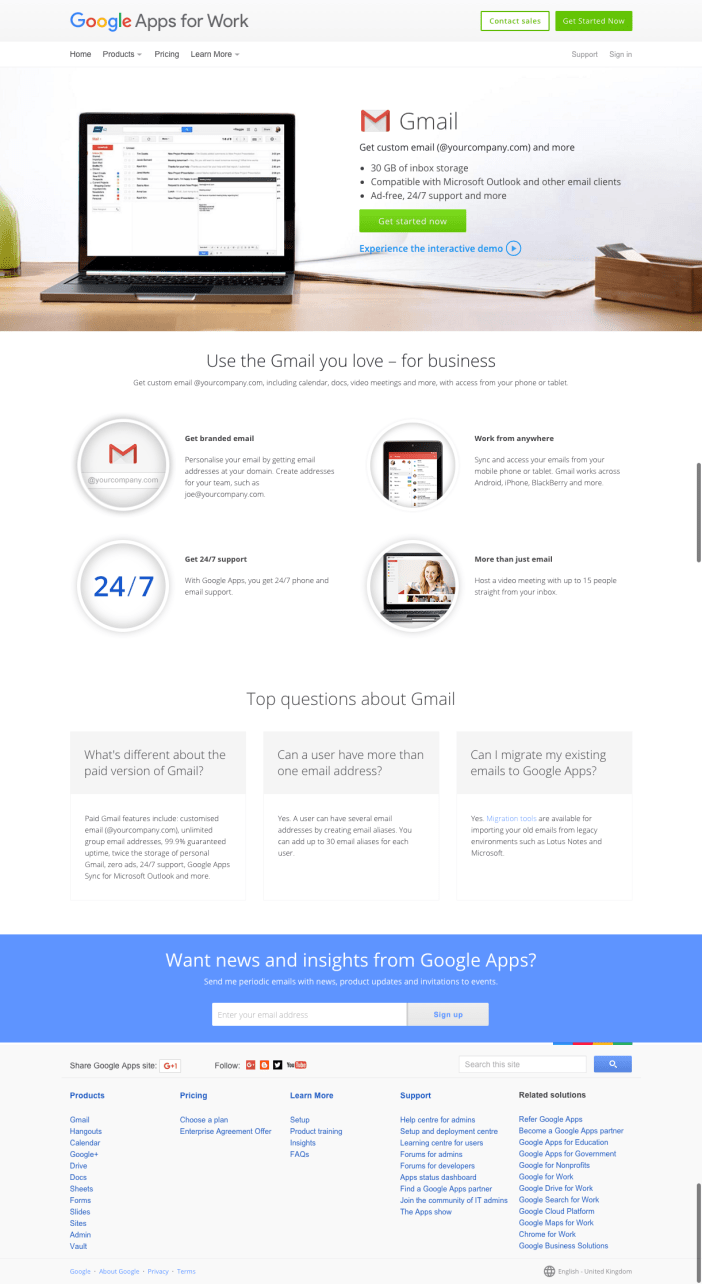 Google: Apps for Work - Gmail for Business - Landing Page - Gamobu