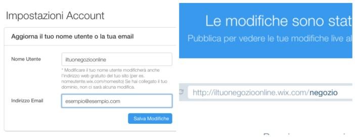 Wix - Come creare un sito con Wix - Cambiare il nome utente - Gamobu