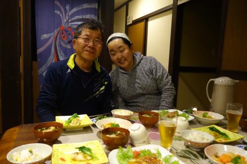 Un repas avec nos hotes a Miyama-Cho!