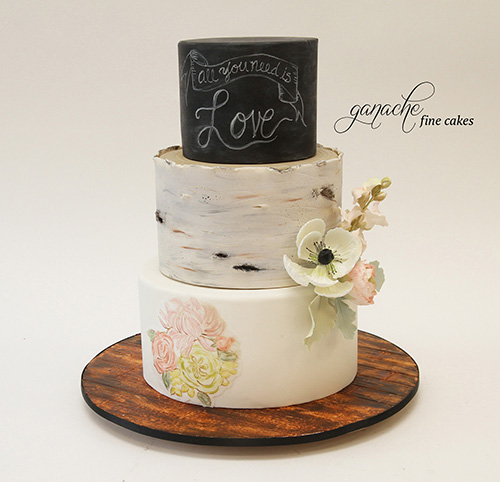 Chalkboard And Birch Bark Hand Painted Wedding Cake