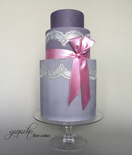 Ombre Double Barrel Vintage Wedding Cake With Lace