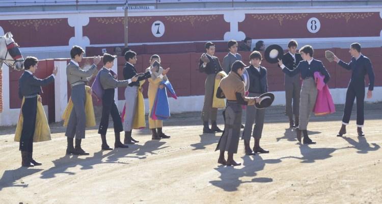 Participantes del Tentadero público de Torrejón con las eralas de la Ganadería San Isidro