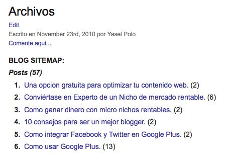 Archivos Sitemap