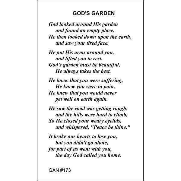 god s garden prayer card gannon 39 s prayer card co