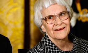 """WASHINGTON - NOVEMBER 05: Pulitzer Prize winner and """"To Kill A Mockingbird"""" author Harper Lee smiles before receiving the 2007 Presidential Medal of Freedom in the East Room of the White House November 5, 2007 in Washington, DC. The Medal of Freedom is given to those who have made remarkable contributions to the security or national interests of the United States, world peace, culture, or other private or public endeavors. (Photo by Chip Somodevilla/Getty Images) *** Local Caption *** Harper Lee"""