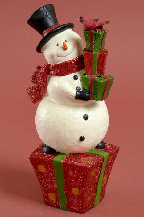 11 RESIN SNOWMAN ON GIFT BOX REDGREENWHITE