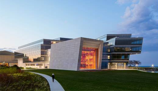 Image of the new music and communications building at Northwestern University, IL
