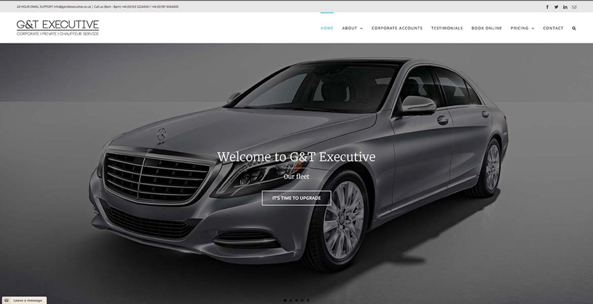 An image of the new website of GandT Executive, including out new blog and news page.
