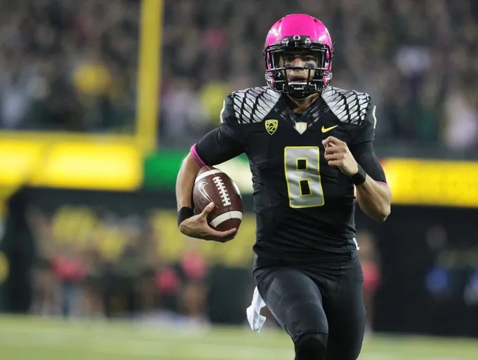 Oregon Ducks quarterback Marcus Mariota completed 23 of 32 passes for 327 yards with two passing touchdowns, and ran for 67 yards with one rushing touchdown.