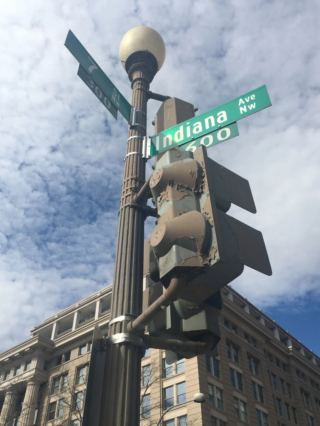 Indiana Avenue is one of the streets that borders Indiana Plaza in Washington, D.C.