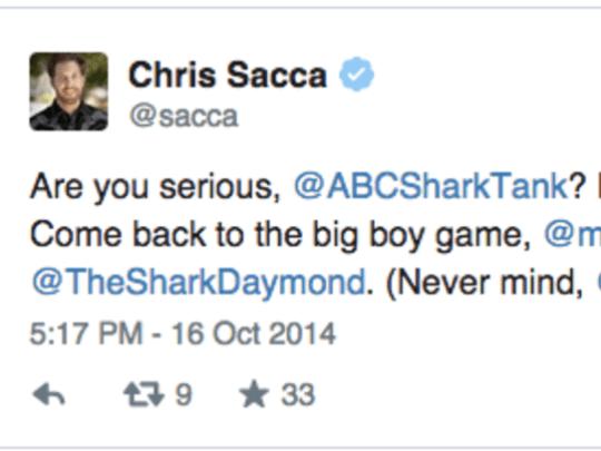 Chris Sacca's mean tweet to Shark Tank