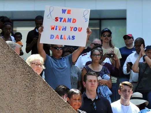 July 8, 2016; Dallas, TX, USA; Supporters held signs