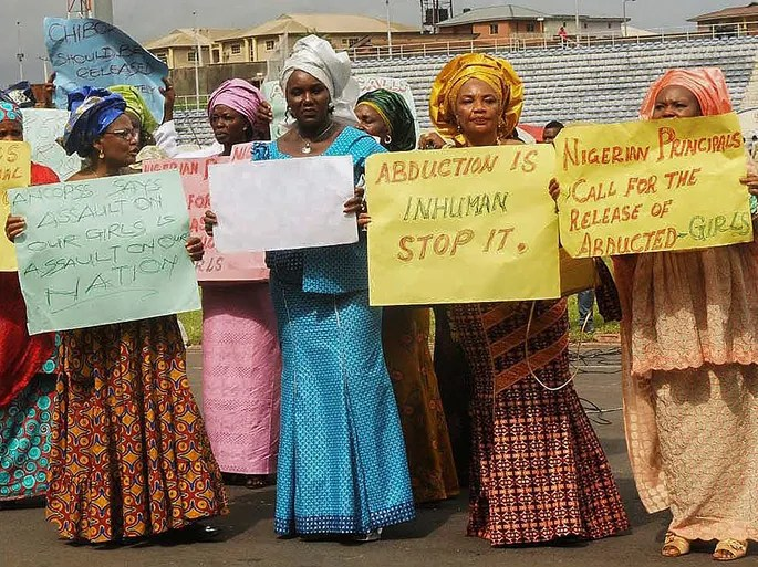 Members of the All Nigeria Confederation of Principals of Secondary Schools stage a protest against the government in Ibadan. The Nigerian government has offered a reward for any information leading to the location of the abductors and has accepted U.S. help to finding the missing girls.