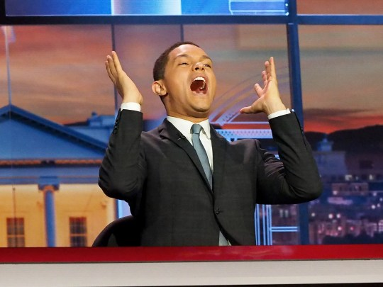 "Trevor Noah on the set of ""The Daily Show."""
