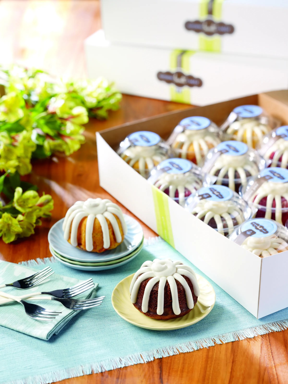 There are 10 Nothing Bundt Cakes flavors, and you can get a dozen for around $45.