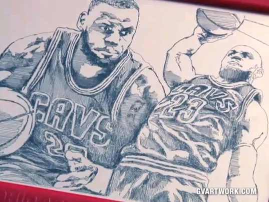 LeBron James Cavs Etch A Sketch george vlosich