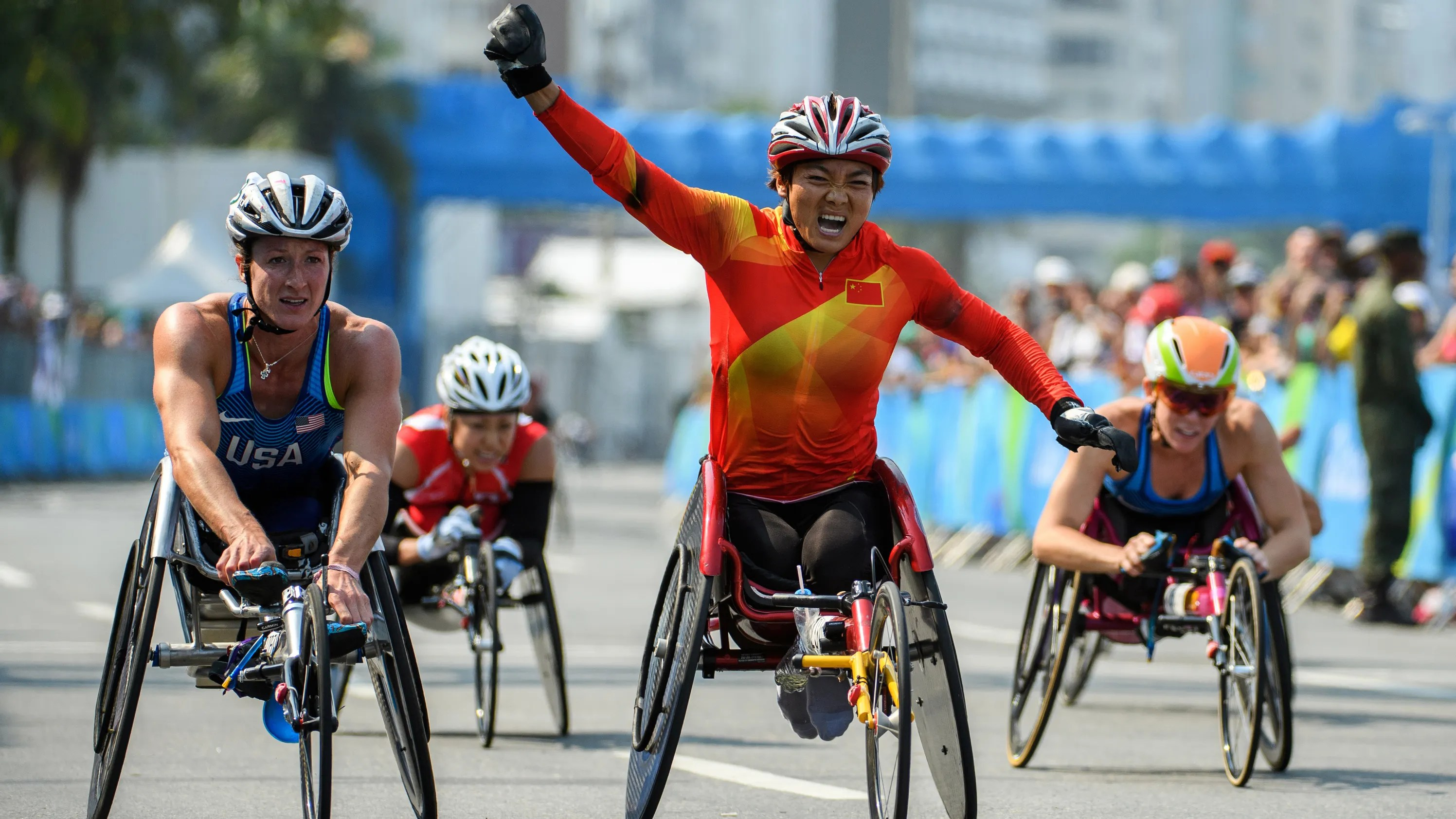 wheelchair marathon chair cover qoo10 paralympics china 39s zou lihong wins