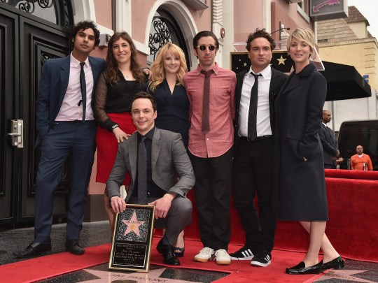 """""""The Big Bang Theory"""" cast members showed their support for colleague Jim Parsons, front, at his star ceremony on the Hollywood Walk of Fame. Joining Parsons were Kunal Nayyar, left, Mayim Bialik, Melissa Rauch, Simon Helberg, Johnny Galecki and Kaley Cuoco."""