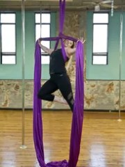 Melissa Gandy, aerial instructor at Shore Pole, demonstrates