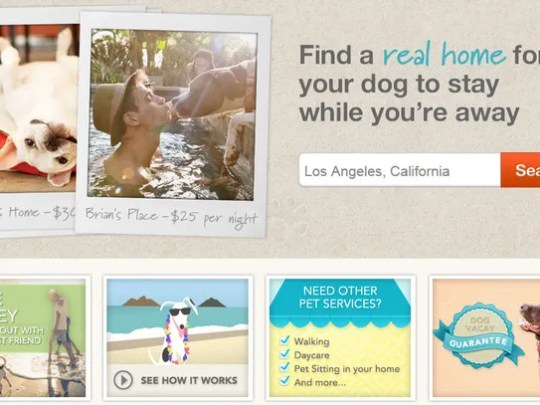 A view of the DogVacay pet-sitting service.