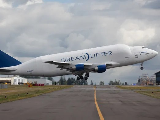 A Boeing Dreamlifter takes off from Paine Field in