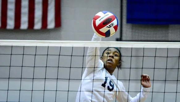 West York's Tesia Thomas smashes the ball over the